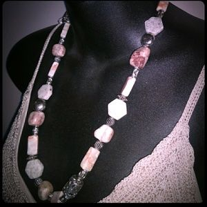 VTG Solid Marble & Silver-Tone Bead Necklace